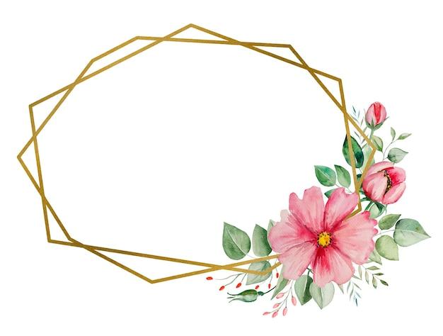 Акварельные розовые цветы и зеленые листья кадр карты, романтические пастельные иллюстрации с акварельным фоном. на свадьбу канцелярские товары, поздравления, обои, мода, постеры