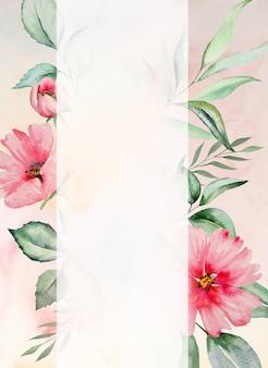Акварель розовые цветы и зеленые листья кадр карты, романтическая пастельная иллюстрация