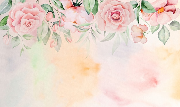 Watercolor pink flowers and green leaves border card, romantic pastel illustration with watercolor background. for wedding stationary, greetings, wallpaper, fashion, posters