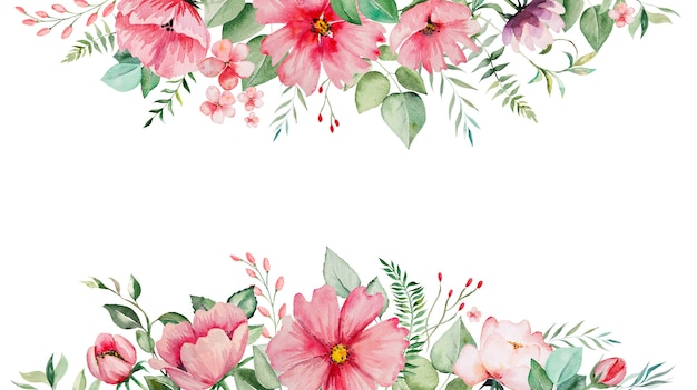 Watercolor pink flowers and green leaves border card, romantic pastel illustration with watercolor background