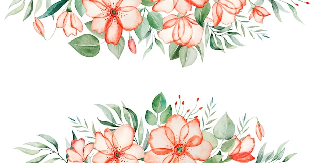 Watercolor pink flowers and green leaves border frame illustration isolated