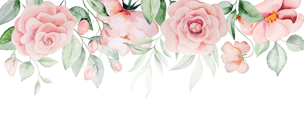 Watercolor pink flowers and green leaves border, romantic pastel illustration for wedding stationary, greetings, wallpaper, fashion, posters