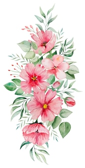 Watercolor pink flowers and green leaves bouquet illustration isolated