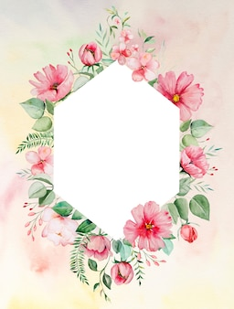 Watercolor pink flowers and green leaves frame card romantic illustration with watercolor background. for wedding stationary, greetings, wallpaper, fashion, posters