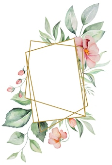 Watercolor pink flowers and green leaves frame card, romantic pastel illustration for wedding stationary, greetings, wallpaper, fashion, posters