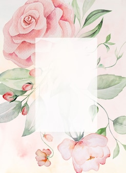 Watercolor pink flowers and green leaves frame card, romantic pastel illustration with watercolor background. for wedding stationary, greetings, wallpaper, fashion, posters