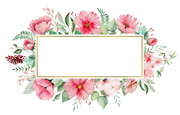 Watercolor pink flowers and green leaves frame card, romantic pastel illustration with watercolor background