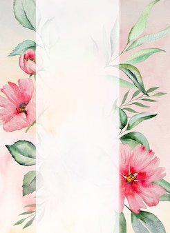 Watercolor pink flowers and green leaves frame card, romantic pastel illustration Premium Photo