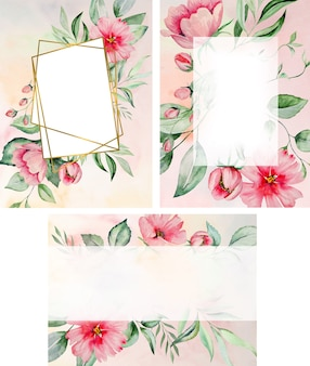 Watercolor pink flowers and green leaves frame card, romantic pastel illustrations for wedding stationary, greetings, wallpaper, fashion, posters