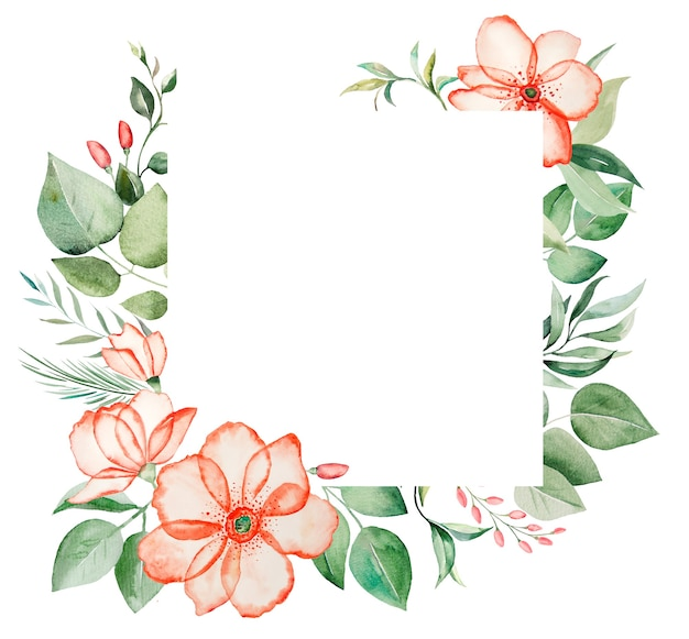 Watercolor pink flowers and green leaves frame illustration isolated