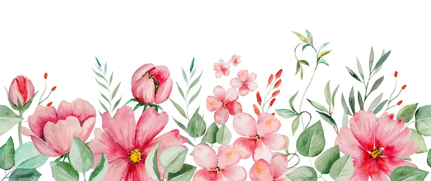 Watercolor pink flowers and green leaves frame seamless border