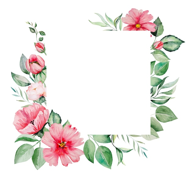 Watercolor pink flowers and green leaves illustrations isolated