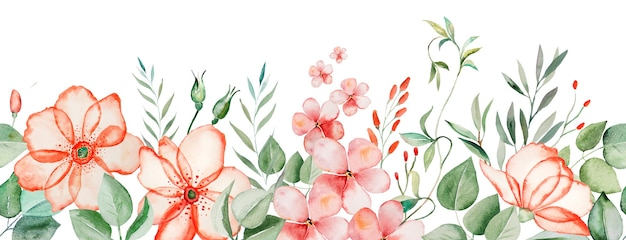Watercolor pink flowers and green leaves seamless border illustration isolated