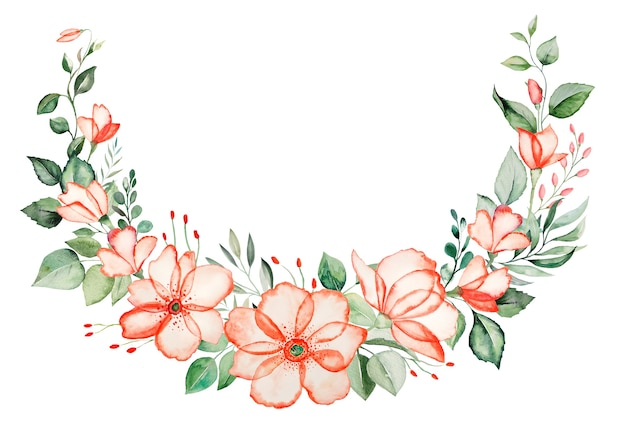 Watercolor pink flowers and green leaves wreath illustration isolated