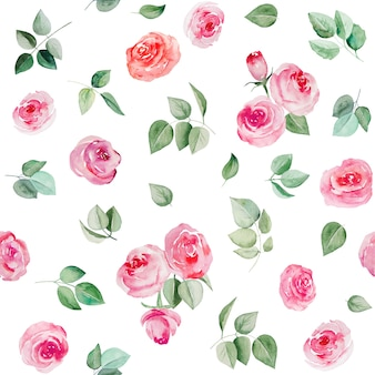 Watercolor pink flowers and leaves seamless pattern illustration isolated