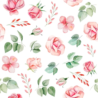 Watercolor pink flowers and leaves seamless pattern illustration isolated Premium Photo