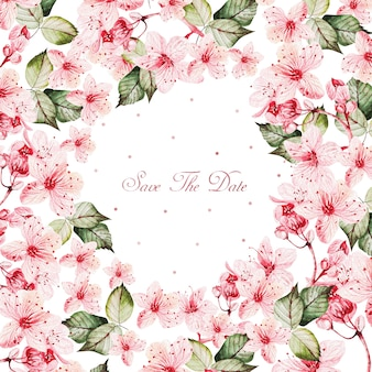 Watercolor pink flowers round frame on white background and save the day text in the middle