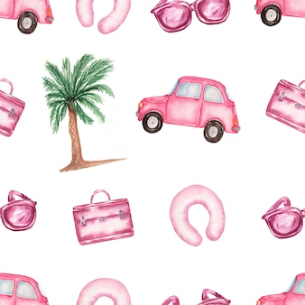 Watercolor pink holidays elements seamless pattern