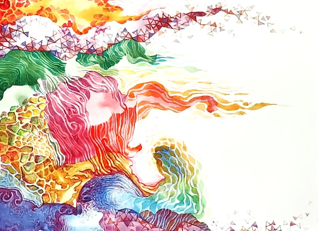 水彩ピンクの明るい色の背景。パステルブルーニュートラル絵画結婚式の背景テンプレート。甘い花の抽象的な描画ブラシイラスト。
