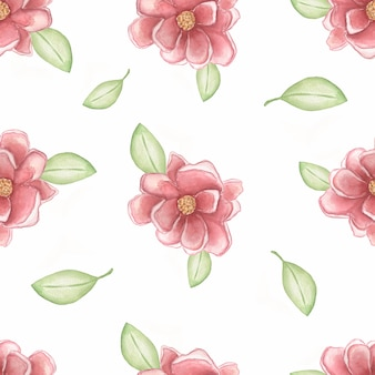 Watercolor pink peonies with geen leaves on the white background