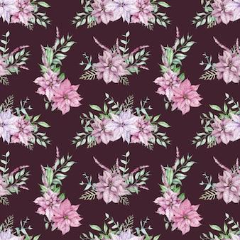 水彩ピンクのポインセチアとユーカリの枝のシームレスなパターン。クリスマスの花の背景。ピンクと紫の花、緑の葉とお祝いの無限のパターン。