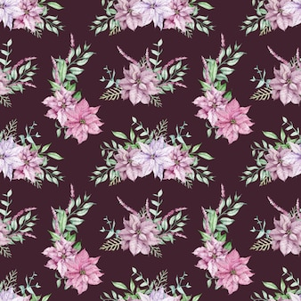Watercolor pink poinsettia and eucalyptus branches seamless pattern. christmas flower background. festive endless pattern with pink and violet flowers, green leaves.