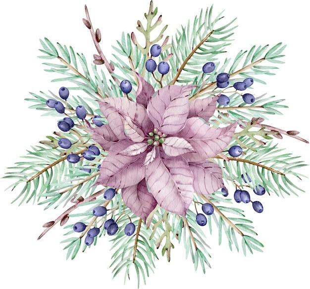 Акварель розовый цветок пуансеттия с сосновыми ветками и голубыми ягодами. рождественский букет. новогодняя зимняя открытка, изолированные на белом фоне.