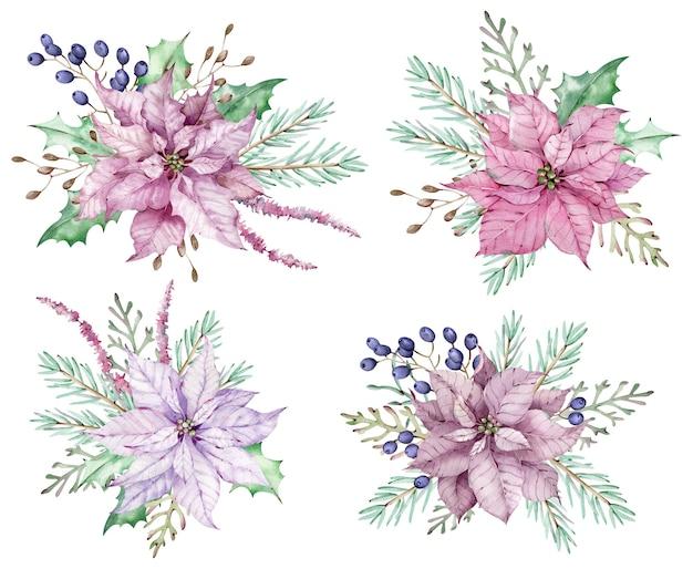 Акварель розовые цветы пуансеттии с сосновыми ветками и синими ягодами. рождественские букеты. новогодние зимние открытки, изолированные на белом фоне.