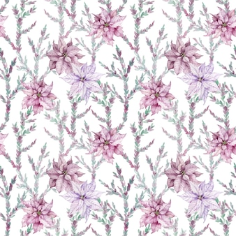水彩ピンクのポインセチアのシームレスなパターン