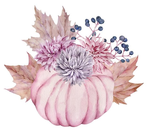 秋の花、秋のカエデの葉、果実で飾られた水彩画のピンクのカボチャ。美しい花のカボチャの配置。