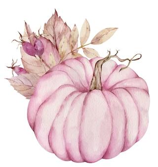 ピンクの果実と白い背景で隔離の乾燥した葉で飾られた水彩画のピンクのカボチャ。