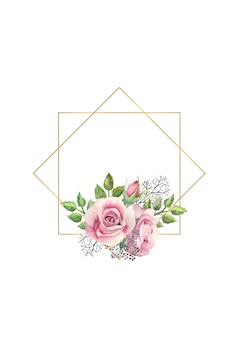 Watercolor pink rose flowers, green leaves, berries in a gold geometric frame