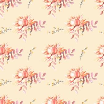 수채색 분홍색 장미, 잎, 붉은 베리. 베이지색 배경에 꽃입니다. 완벽 한 패턴입니다. 인쇄, 섬유, 직물, 포장지에 대한 그림, 웹 사이트 디자인.