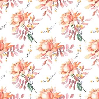 수채색 분홍색 장미, 잎, 붉은 베리. 흰색 바탕에 꽃입니다. 완벽 한 패턴입니다. 인쇄, 섬유, 직물, 포장지에 대한 그림, 웹 사이트 디자인.