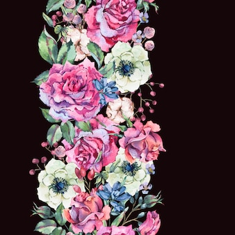 Watercolor pink roses, nature seamless border with flowers