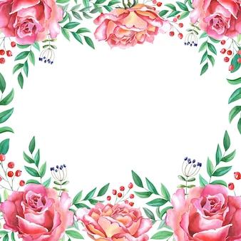 白い背景に緑の葉と水彩ピンクのバラ。赤い花のフレーム。母の日、誕生日、記念日、結婚式、その他の休日のグリーティングカード。水彩イラスト。