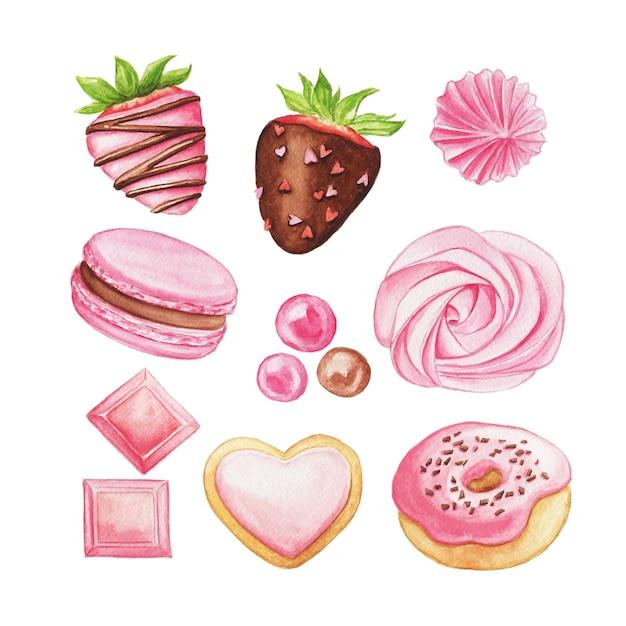 수채화 핑크 과자. 손으로 그린 사탕과 파이 세트