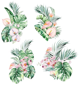 Watercolor pink tropical leaves and flowers bouquets isolated illustration for wedding stationary, greetings, wallpaper, fashion, posters