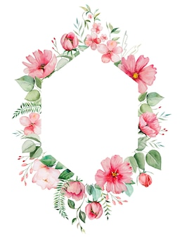 Watercolor pink wild flowers and green leaves frame  illustrations