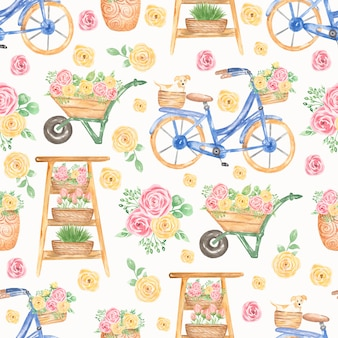 Watercolor pink and yellow florals pattern. blue bicycle, cart with flowers seamless pattern
