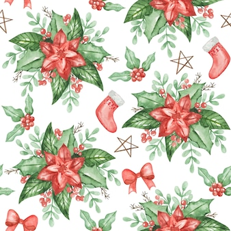 Watercolor poinsettia seamless pattern, christmas background, hand drawn winter pattern, textile