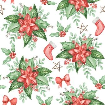 水彩ポインセチアシームレスパターン、クリスマスの背景、手描きの冬のパターン、テキスタイル