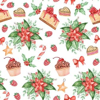 水彩ポインセチアのシームレスなパターン、クリスマスキャンディーの背景、甘い冬のプリント、テキスタイル