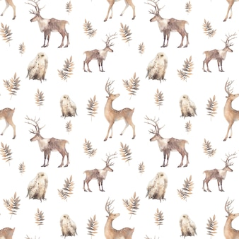 Watercolor polar animals seamless pattern. hand drawn natural repeating design on white background: deer, polar owl, branches. scandinavian style texture