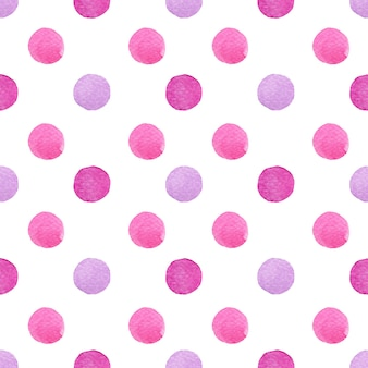 グラデーションの紫とピンクで絵を描く水彩水玉は、白のシームレスなパターンで発見されました。