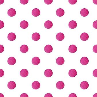 水彩水玉ピンクのドットのシームレスパターン