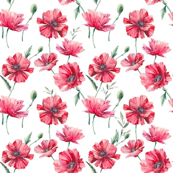 Watercolor poppy seamless pattern. hand painted repeating background with floral elements on white background. botanical texture