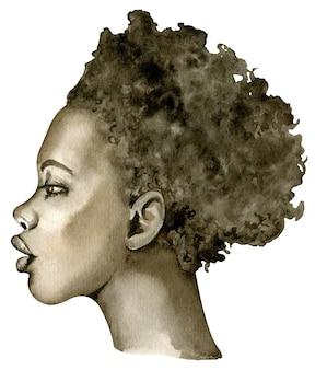 Акварельный портрет афро-американской женщины с короткими волосами, изолированные на белом фоне