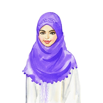 アラビアの女性の水彩画の肖像画。笑顔の若い女性の絵。白い背景の手描きイラスト