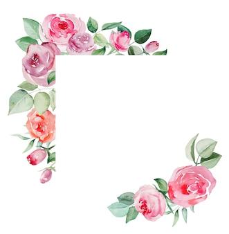 水彩ppinkと赤いバラの花と葉の幾何学的なフレーム